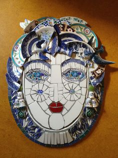 Blue Mosaic Face (inspired by Cleo Mussi) via Flickr.