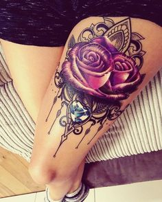 #gemtattoo #rosetattoo by Ryan Smith, UK