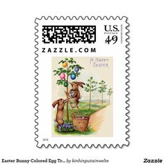 Easter Bunny Colored Egg Tree Stamps