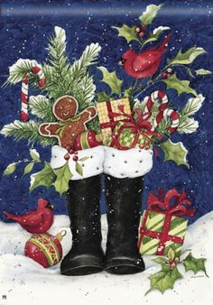 BreezeArt Santa's Boots Susan Winget Christmas Winter Gingerbread Man Cardinal Birds Holly Candy Cane Standard House Yard Flag 28 x 40 #BreezeArt $18.99 Free US Shipping