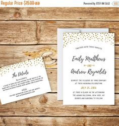 Printable Wedding Invitation & RSVP Templates Instant Download