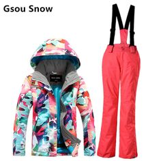 Gsou snow children's ski suit child multicolour Camouflage ski jacket and red pants girls skiing suit skiwear waterproof thermal