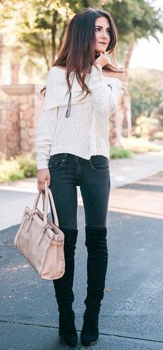 #winter #fashion / White Off Shoulder Knit + Pink Leather Tote Bag