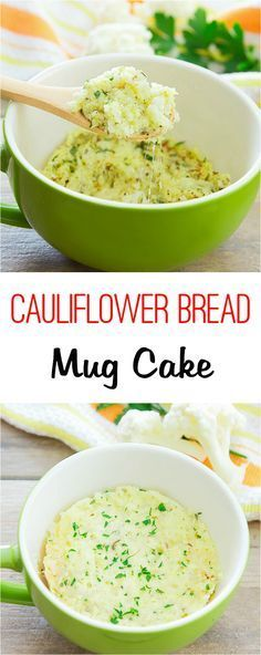 Cauliflower Bread Mug Cake. Flourless, 4 ingredients and cooks in 2 minutes!