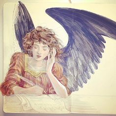 Painting up a pencil sketch in Photoshop #angel #illustration #doyouhearwhatihear