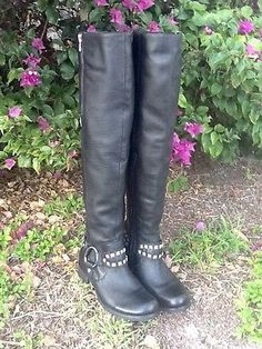 Miz Mooz MILLER Motorcycle Over Knee Tall Black Leather Boots NEW 7 37.5