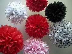 LadyBug Picnic  ...7 tissue paper poms // picnic birthday // mickey mouse party // ladybug // party decorations on Etsy, $33.00