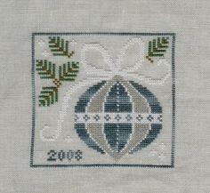 Silver & Blue cross stitch ornament