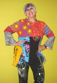 Tonys Loss My Gain Funky Hand painted Upcycled tunic by monapaints