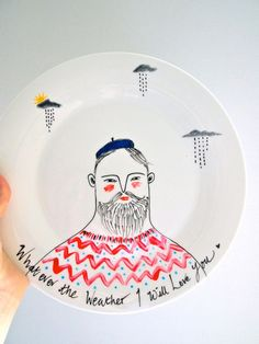 Hand painted decorative plate Whatever the by JessQuinnSmallArt