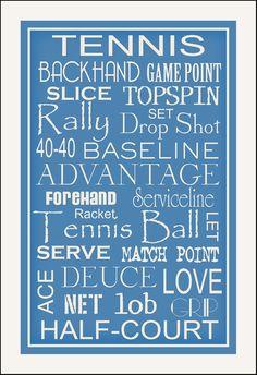 Subway Art Sign Tennis Typography Art Print 11x17