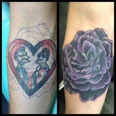 Purple rose cover up by Chad Whitson-Bearcat Tattoo Gallery- Little Italy-San Diego, CA