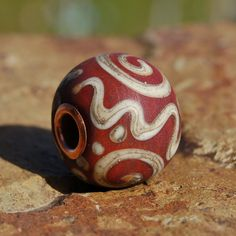 Georgia Clay Graffiti - K O Lampwork Beads - copper cored lampwork bead for Add A Bead European Style Chains by koregon on Etsy