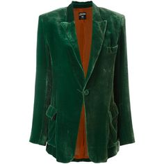 Jean Paul Gaultier Vintage Velvet Blazer (20.910 RUB) ❤ liked on Polyvore featuring outerwear, jackets, blazers, green, velvet blazer, vintage velvet jacket, green velvet blazer, green velvet jacket and velvet jackets