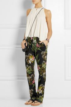 Étoile Isabel Marant Wilford floral-print cotton-gauze tapered pants | NET-A-PORTER