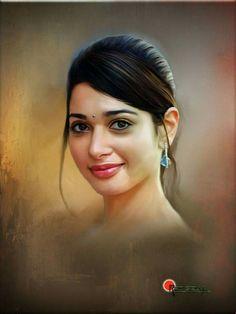 Tamanna Bhatia South Indian Actress, Beautiful Indian Actress, Beautiful Actresses, Beautiful Smile, Simply Beautiful, Indian Art Paintings, Girl Sketch, Girly Pictures, Digital Portrait