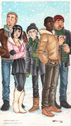 The Slytherins: Gregory Goyle, Pansy Parkinson, Draco Malfoy, Blaise Zabini and Vincent Crabbe by CaptBexx