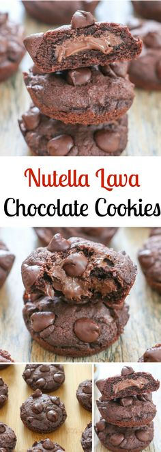Nutella Lava Chocolate Cookies. These cookies have a melted, gooey Nutella center!