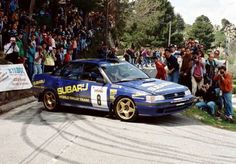 Late rally legend Colin McRae flat-out as ever with his boxer-engined Subaru Legacy RS in the twisty tarmac roads of Tour de Corse Rallye de France which was. Subaru Wrc, Subaru Rally, Rally Car, Subaru Impreza, Subaru Legacy, Richard Burns, Colin Mcrae, Honda Civic Si, Automobile