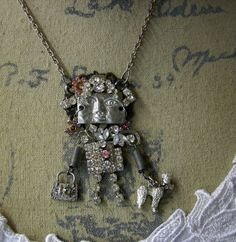 Art Doll Assemblage Necklace  Glitzy Gerty walks by Vintagearts, $50.00