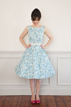 Sew Over It Betty Dress sewing pattern. Inspired by Mad Men's Betty Draper the Betty dress is 1950's in style with a fitted bodice and full circle skirt. Worn with or without a petticoat it makes the perfect party dress