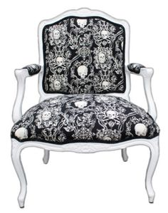 Limited Edition Antique Victorian Style Baroque Parlor Chair with Black and White Skull Pattern Upholstery