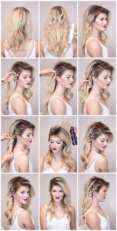 60 Easy Step by Step Hair Tutorials for Long, Medium,Short Hair – Hair Styles Medium Short Hair, Medium Hair Styles, Curly Hair Styles, Casual Updos For Medium Hair, Haircut Medium, Ombre Hair Long Bob, Side Braid Tutorial, Side Hairstyles Tutorial, Hairstyles For Medium Length Hair Tutorial
