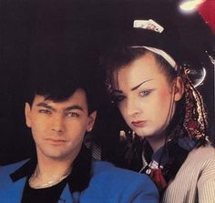 """I love this pic of Boy George and Jon Moss like """"yes we are a couple"""" so cute."""