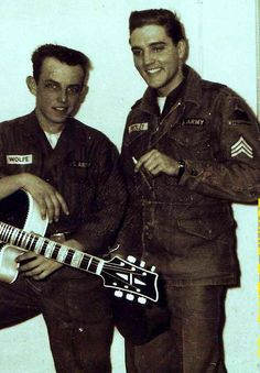 Elvis at the end of january 1960 in Germany with another soldier.