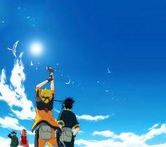 Naruto: Naruto, Sasuke, Kakashi-sensei, and Sakura