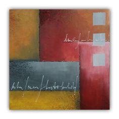 Abstract kubistisch schilderij in de kleuren oker, rood en grijs, 50x50cm door Erica Willemsen