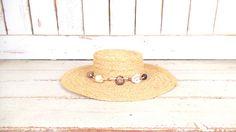 Vintage light tan brown woven straw beaded sun hat/gardening farming hat/beach hat by GreenCanyonTradingCo on Etsy