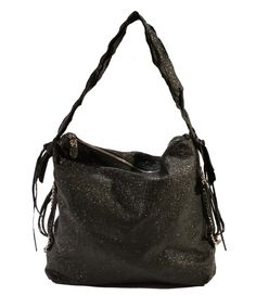 Medium-large hobo with unique style elements including softly gathered sides with chain detailing. Zip closure with signature hardware on zipper pull. Shoulder strap with whip fringe.