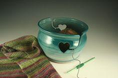Green Yarn Bowl ceramic knitting bowl heart by SummerHollowPottery