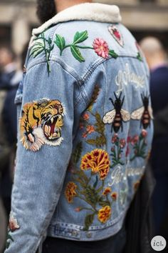 TheyAllHateUs | Denim Jacket Embroidery, Jean Embroidery, Jeans With Embroidery, Diy Embroidered Jeans, Embroidered Patch, Embroidered Clothes, Embroidery Patches, Embroidery Fashion, Embroidery Sneakers