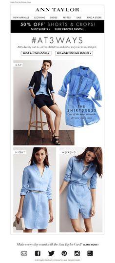 #newlsetter Ann Taylor 06.2014 The No-Stress Dress. 3 Ways To Wear. Minimalist Fashion, Minimalist Style, Fashion Banner, Fashion Marketing, Black And Navy, Workwear Online, Cropped Pants, Email Design, Web Design