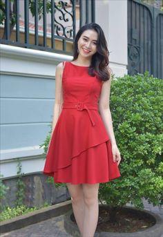 thoitrangdamdep.net - Đầm xòe 2 lớp kèm belt màu đỏ dễ thương