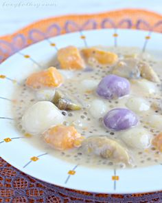 Ginataang Bilo bilo (or Ginataang Halo-halo) is a popular merienda (afternoon snack) to us Filipinos. It is made of glutinous or sticky rice balls, plantain bananas, sweet potatoes and tapioca pearls cooked in coconut milk, to make it more special, jack fruit is also usually added. It is sweet and delicious and can be eaten either hot or cold.| www.foxyfolksy.com