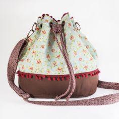 Bolsa Saco Artesanal Bucket de Tecido