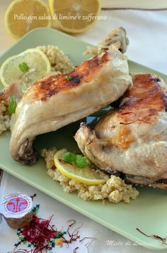 Pollo con salsa di limone e zafferano #mieledilavanda #pollo #cibosano