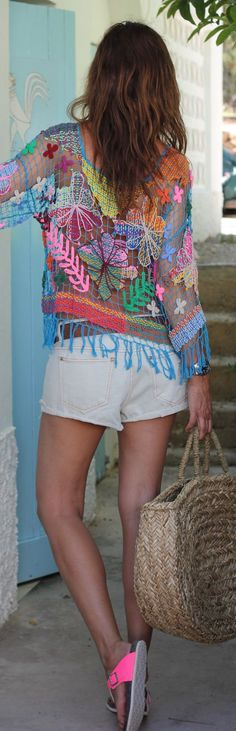 Boho Multicolor Colorblock Knit Pattern Fishnet Cover Up...love!