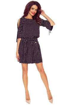 Fekete pöttyös ruha M57414 Cold Shoulder Dress, Dresses, Fashion, Vestidos, Moda, Fashion Styles, Dress, Fashion Illustrations, Gown