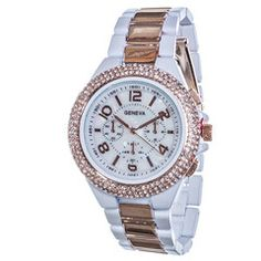 """White and rose gold tone 1-1/2"""" Bling Watch"""