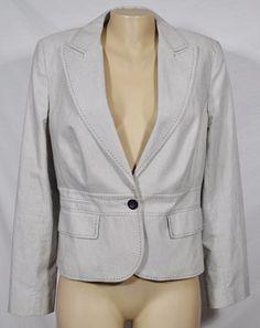 ANN TAYLOR LOFT Beige Black Stripe Jacket Blazer 12 Long Sleeve Lined One Button #AnnTaylorLOFT #Blazer