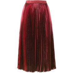 Christopher Kane high waisted pleated metallic skirt ($995) ❤ liked on Polyvore featuring skirts, red, pleated mid length skirts, metallic skirt, red midi skirt, mid calf length skirts and high-waisted skirt