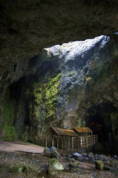 Smoo Cave, Scotland. More at: http://www.smoocave.org/index.htm The cave is formed in a band of Durness limestone which in turn is surrounded by quartzite, gneiss and grits. Originally a small swallet cave, the entrance has been much enlarged by the action of the sea.