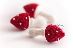 1 Pcs  Crochet  amanita teether teeth play food от MiniMoms