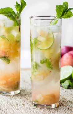 Nectarine MojitosLooking for a great refreshing drink? Check out this nectarine mojito by SpicySouthernKitchen Party Drinks, Cocktail Drinks, Fun Drinks, Cocktail Recipes, Alcoholic Drinks, Cold Drinks, Beverages, Colorful Cocktails, Fruity Cocktails