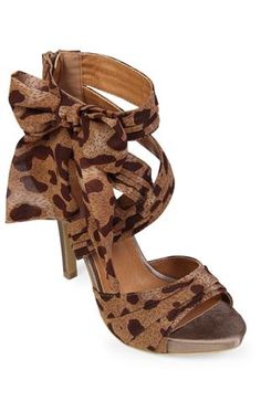 leopard print high heel with side bow $32.50