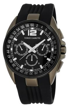 Men's Vince Camuto Multifunction Silicone Strap Watch